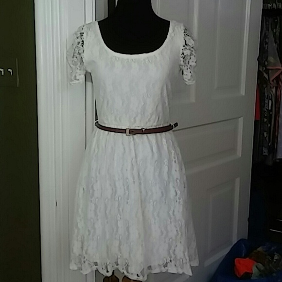 Deb Dresses & Skirts - Deb Lace High Low Lace Dress with Belt